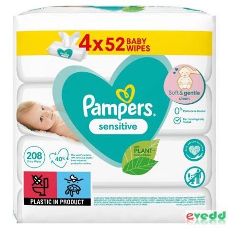 Pampers Törlőkendő 4*52Db Sensitive